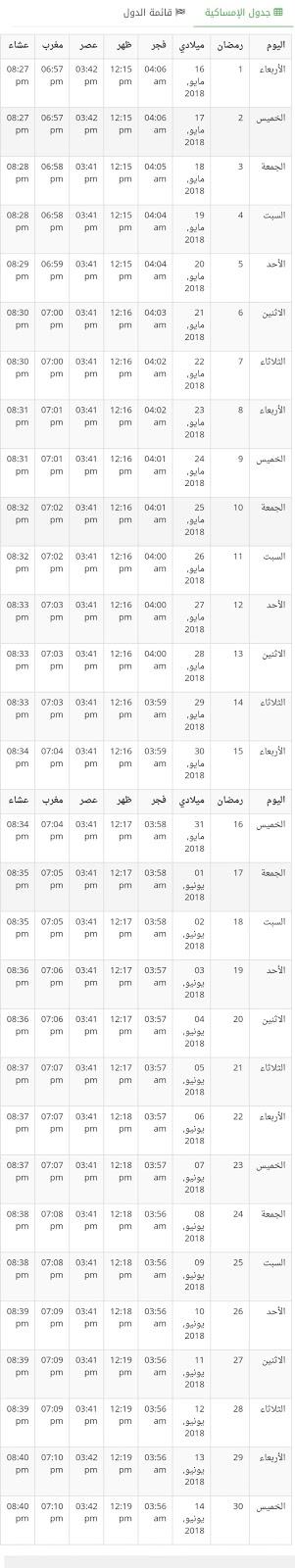 إمساكية رمضان في الإمارات 2018 , 1439 هـ