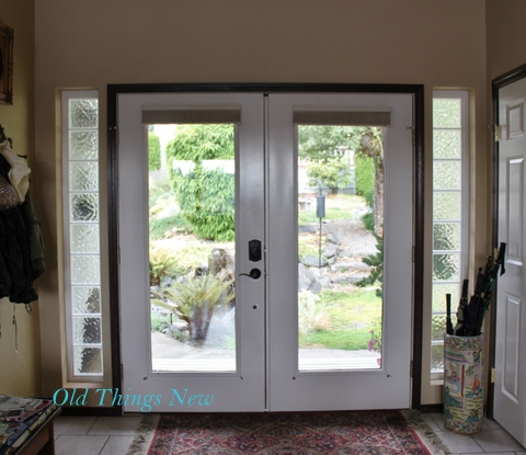 Old Things New – Drop Cloth Draperies for my Front Door