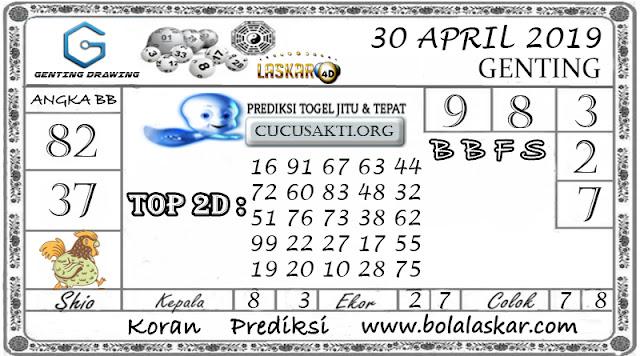 Prediksi Togel GENTING DRAWING LASKAR4D 30 APRIL 2019