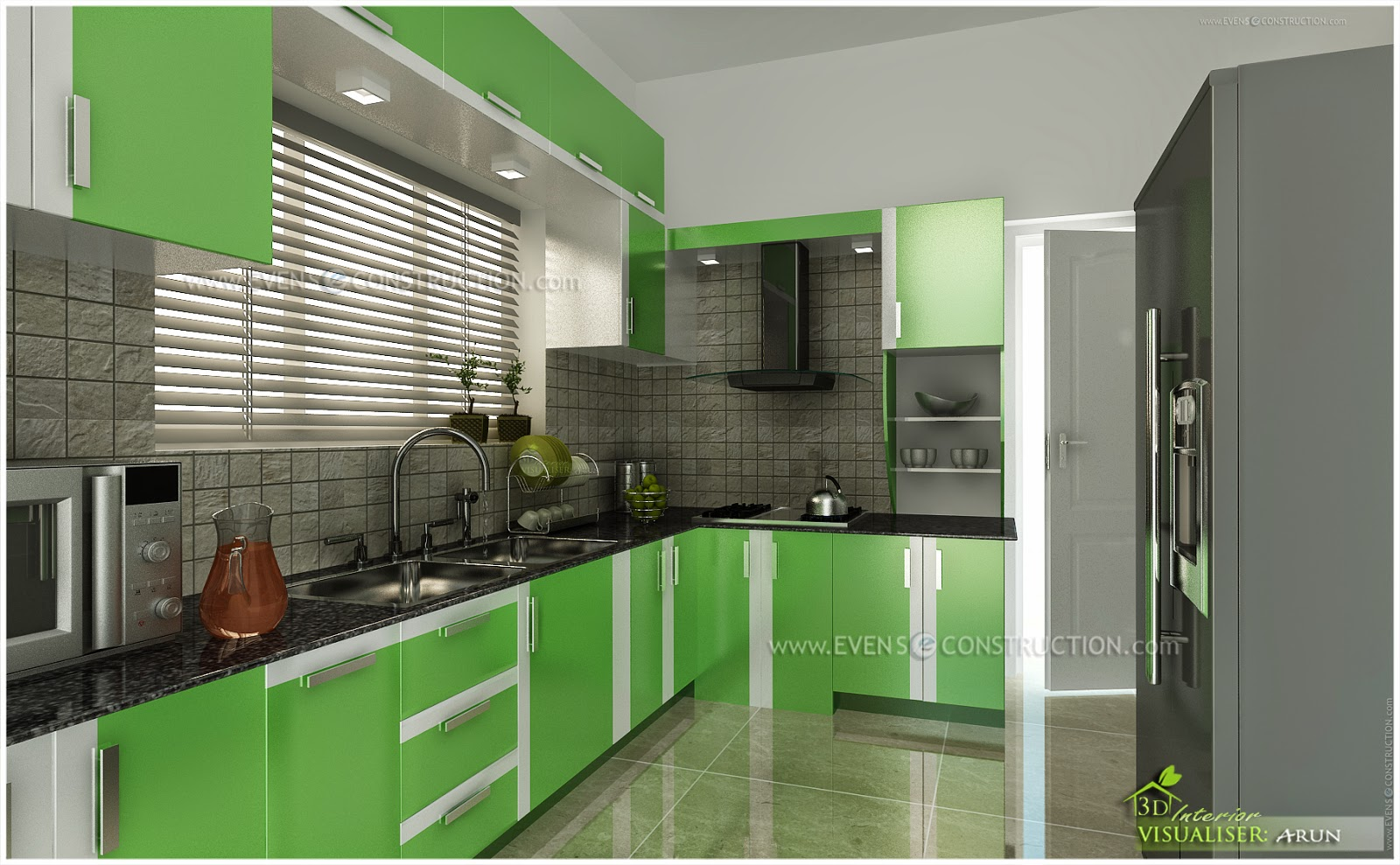 Evens Construction Pvt Ltd: Small Kerala kitchen interior ...