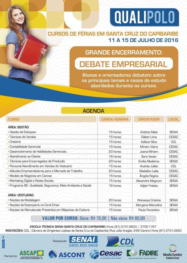 Qualipolo 2016 ofertará 15 cursos em Santa Cruz do Capibaribe