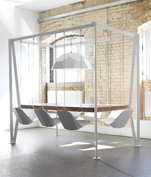 tables et chaises balancoire design salle a manger idee originale