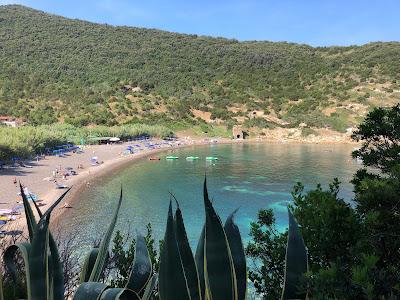 View of Nisporto beach in the morning.