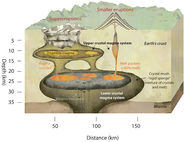 Magma chambers of supervolcanoes have sponge-like structure