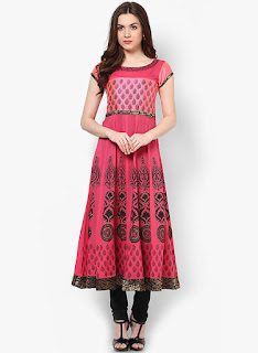 Embroidered Anarkali styke Pink kurti from MBE by fashiondiya