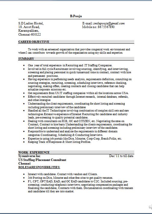 biodata samples for job