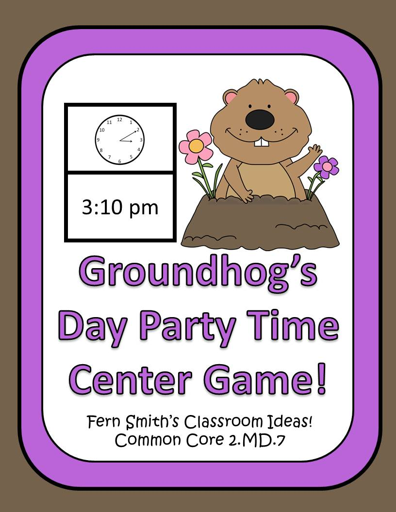 http://www.teacherspayteachers.com/Product/Telling-Time-Center-Game-Groundhog-Day-Party-Time-503053