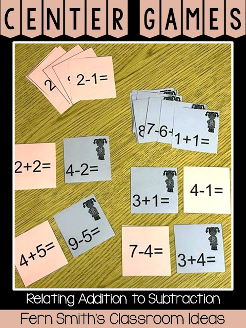 2nd Grade Go Math 3.5 Relating Addition and Subtraction Center Game