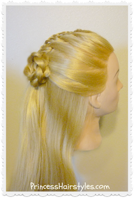 Gorgeous half up hairstyle, the cornucopia braid