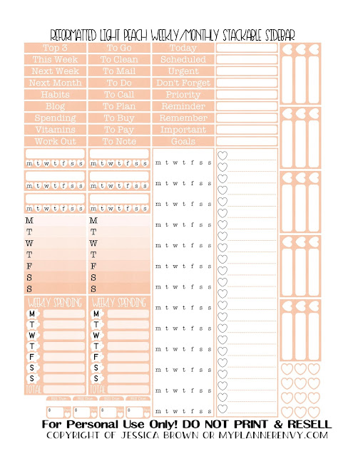 Free Printable Reformatted Weekly/Monthly Stackable Sidebar in Light Peach from myplannerenvy.com