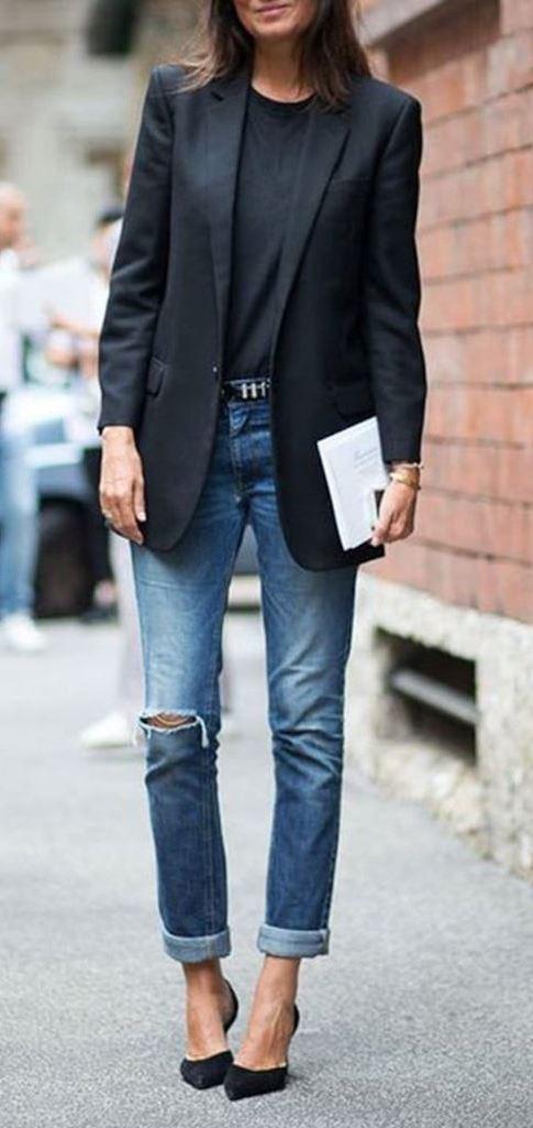 black and denim / top + blazer + rips + heels
