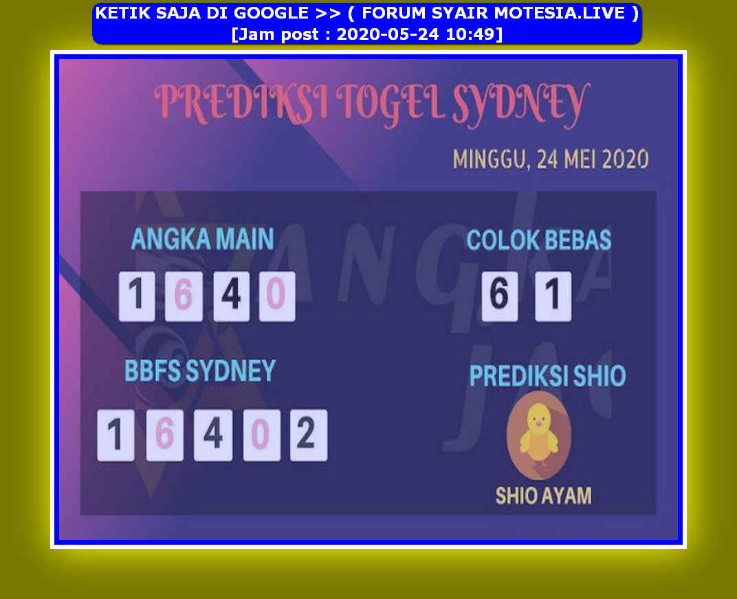 Kode syair Sydney Minggu 24 Mei 2020 60