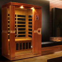 Dynamic Saunas AMZ-DYN-6210-01 Venice 2-Person Far Infrared Sauna, constructed with dual wall Reforested Canadian Hemlock wood, temperature up to 140F, dual control panel