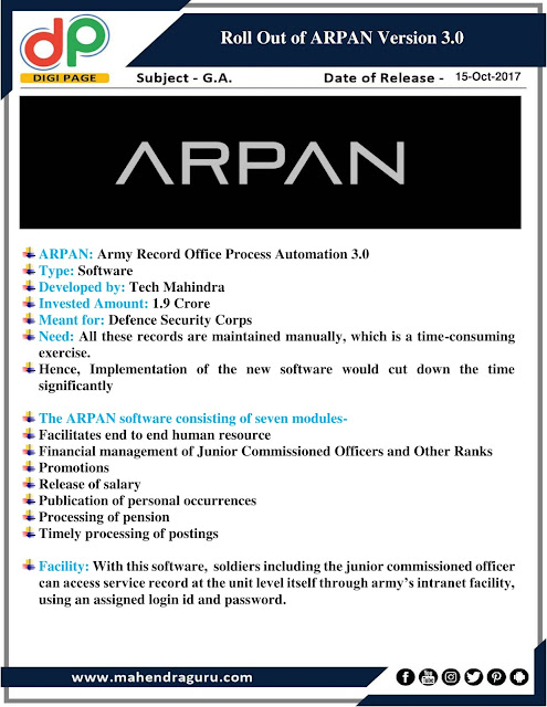DP | IBPS RRB Mains Special : Roll Out of ARPAN Version 3.0 | 15 - Oct - 2017
