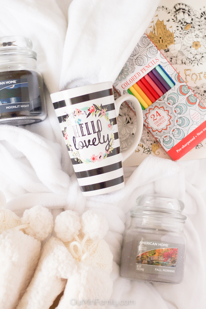 Comfy cozy gift basket ideas our mini family i was able to find everything in this gift basket at my neighborhood walmart including the american home by yankee candle products negle Images