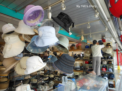 Hats on sale - Nakamise Dori Shopping arcade, Sensoji Temple - Japan