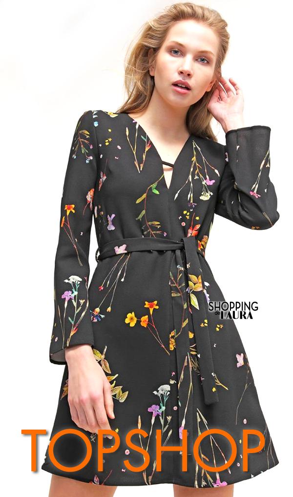 Robe à fleurs chic manches longues : Topshop
