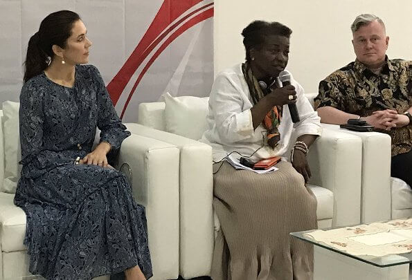 Crown Princess Mary wore Michael Michael Kors jacquard print maxi dress. UNFPA Executive Director Natalia Kanem visited the Indonesia