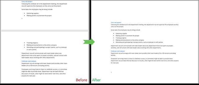 Tampilan sebelum dan sesudah Next Page dan Custom Margin