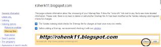 masukan url blog sitemap pada yandex webmaster