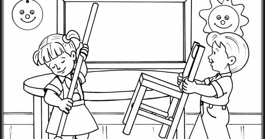 Dibujo De Niña En Su Pupitre Para Colorear: Dibujos De ñiña Barriendo Para Colorear Imagui