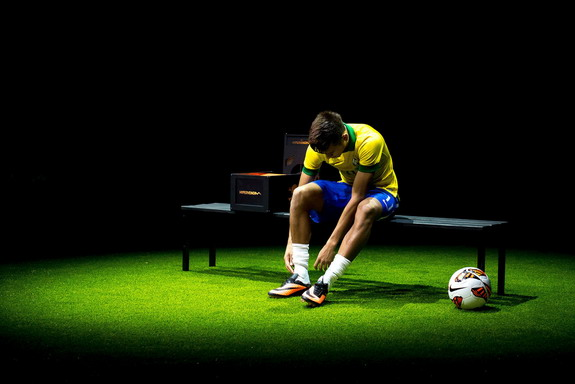 Neymar is seen presenting his new Nike football boots in Rio de Janeiro, Brazil