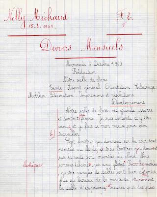 Cahier de devoirs mensuels Progrès NF, élève Nelly M., née le 15 mars 1949, classe de fin d'études I, 2ième classe, 1960 (collection musée)