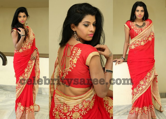 Manisha Pillai Red Saree
