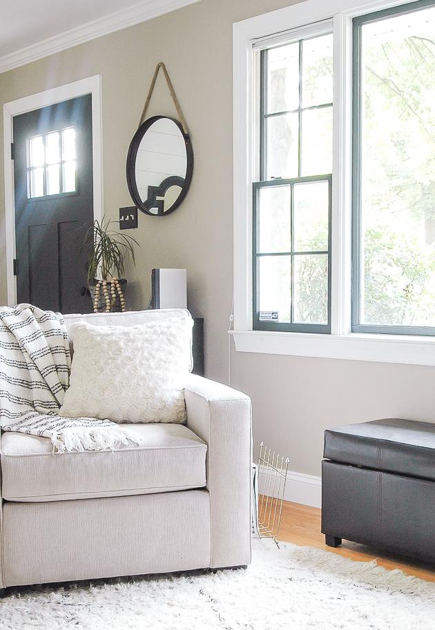 Living Room Update 3 Reasons to Paint Your Windows Dark Little - living room windows