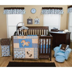 Cute Cowboy And Pony Baby Nursery Set By Trend Lab