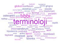 Çeşitli sağlık terimlerinden oluşan tıbbi terminoloji bulutu