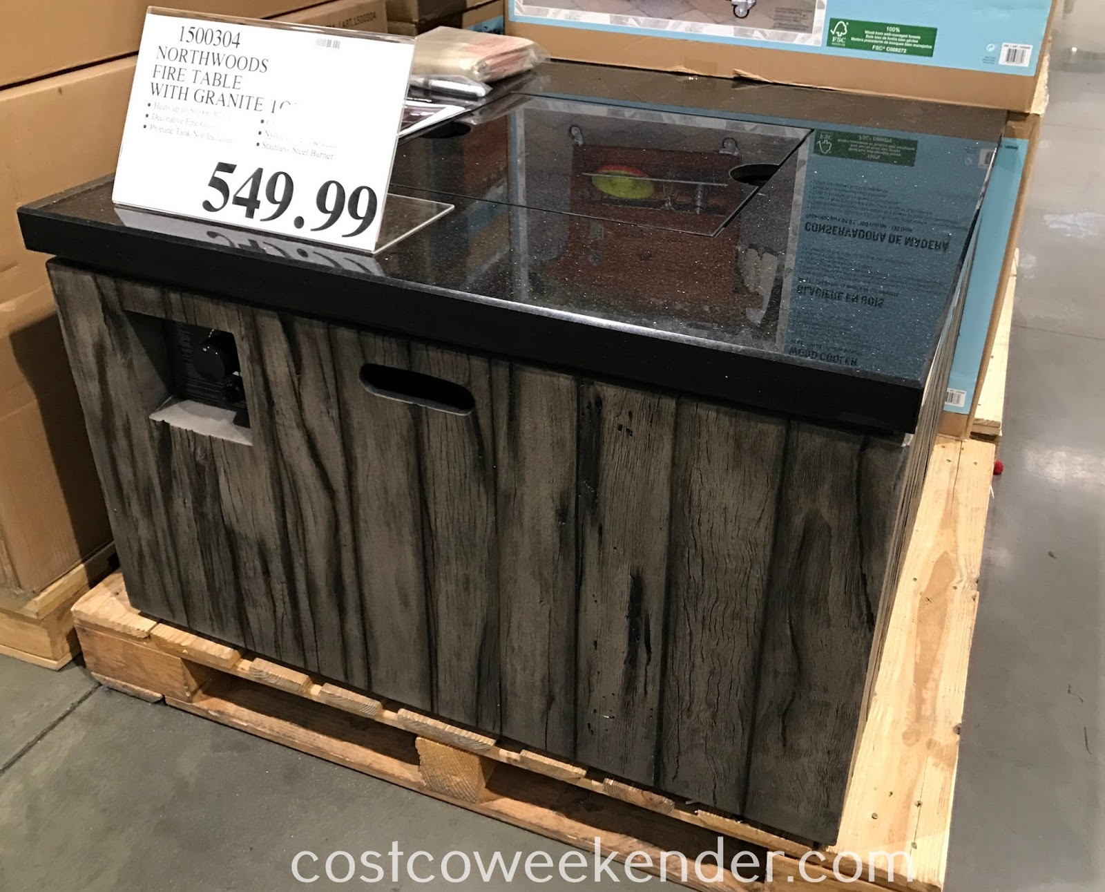 Costco 1500304 - Northwoods Gas Fire Table with Granite Top: great for any backyard or patio