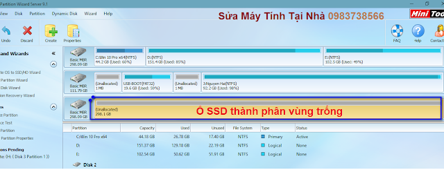 Ổ SSD dưới định dạng là phân vùng trống