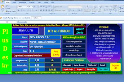 Aplikasi Daftar Nilai+Raport UTS Kurikulum 2013