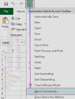 Tambahkan tombol strikethrough ke Quick Access Toolbar