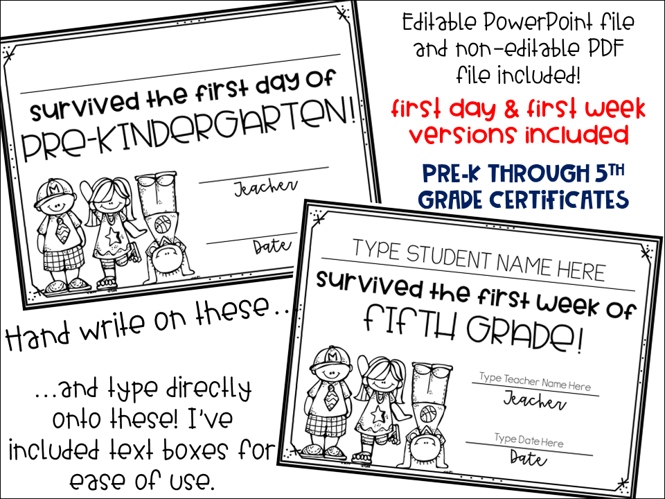 the {4th grade} journey: certificates for the first week of school