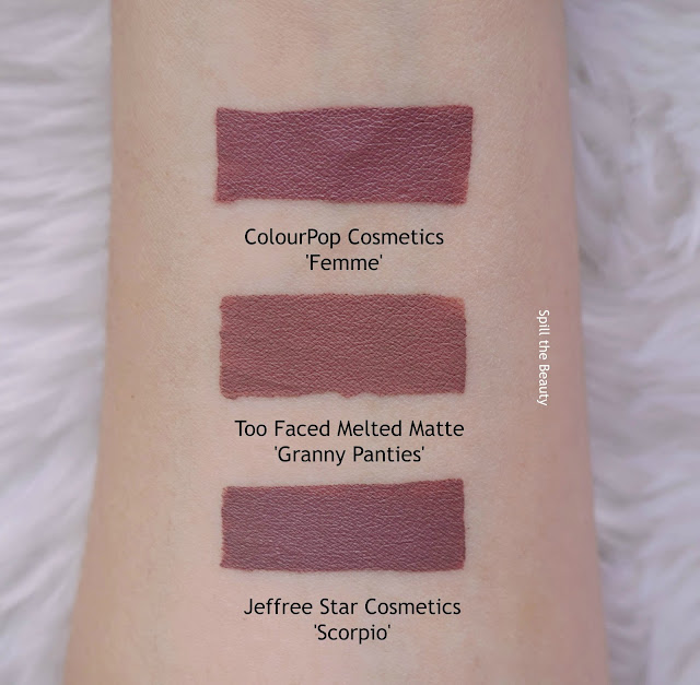 too faced melted matte granny panties swatches comparison dupe