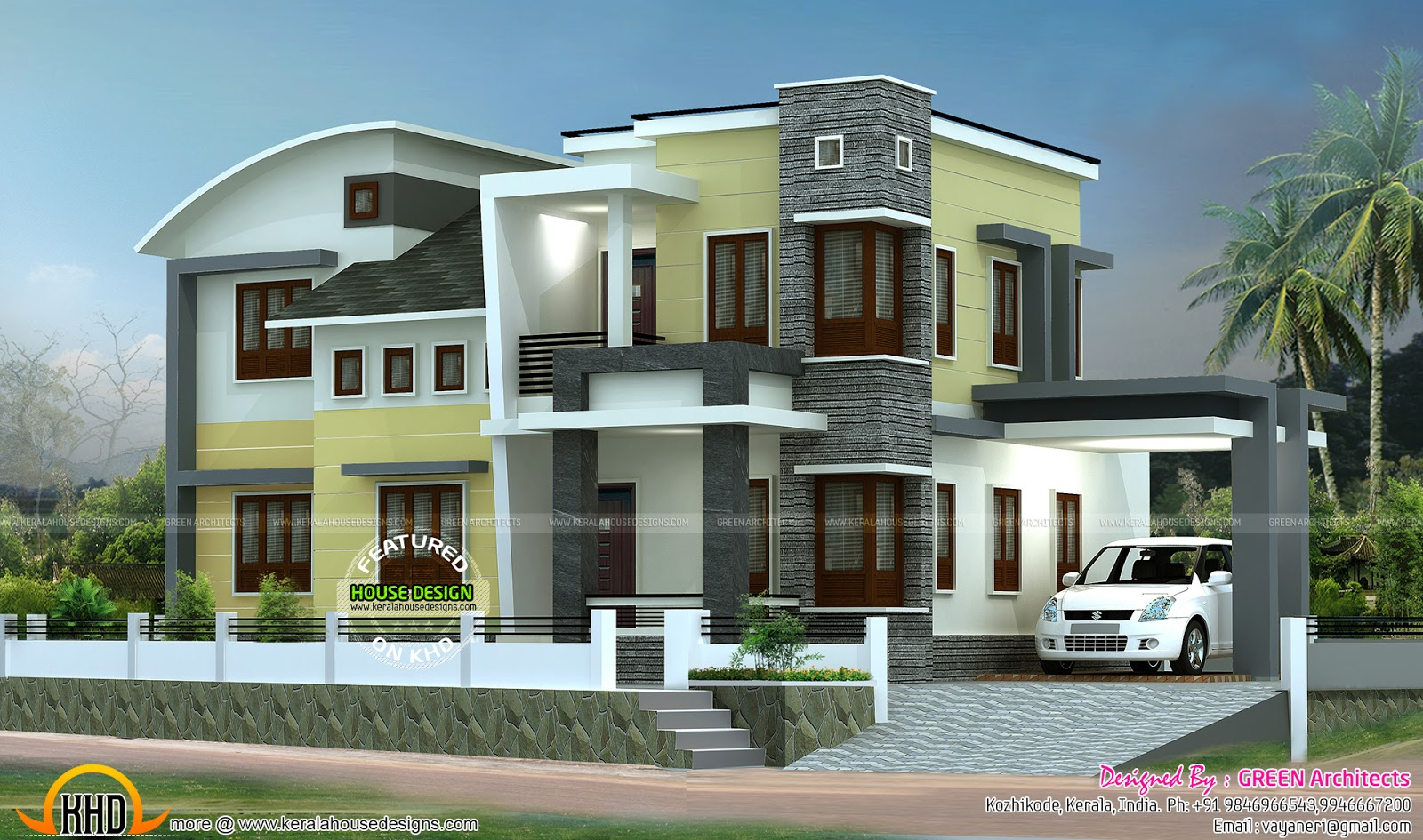 1800 sq ft double storied home plan kerala home design for Farmhouse plans 2017
