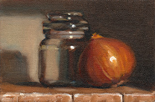 Oil painting of a brown onion beside a small glass jar.