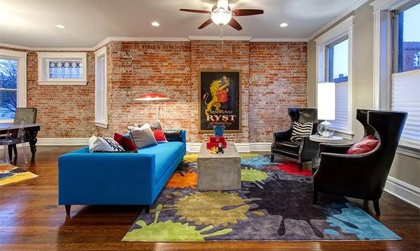 D coration salon avec des murs en briques d coration salon d cor de salon for Outil de conception salon