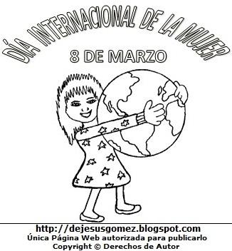 Imagen al Día Internacional de la Mujer para colorear, pintar e imprimir (Mujer abrazando el planeta tierra). Dibujo del Día Internacional de la mujer de Jesus Gómez