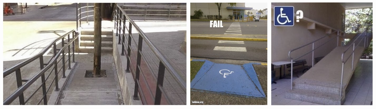 Three photos of poorly designed accessibility features. Left photo is of a long ramp with a tree growing out of the middle. Middle photo is of a curb ramp and crosswalk to the opposite curb ramp, but with he path blocked by a median. Right photo is of a long ramp that starts with two steps up.