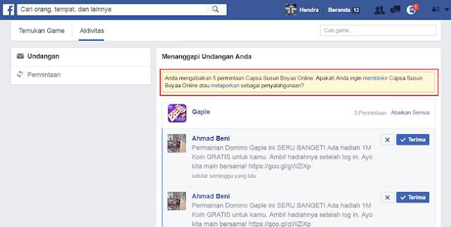 Cara Memblokir Ajakan Permintaan Permainan di Facebook