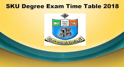 Manabadi SKU Degree Time Table 2018 Download, Schools9 SKU UG Time Table 2018