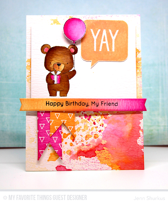 Handmade card from Jenn Shurkus featuring Birthday Speech Bubbles and Birdie Brown Beary Special Birthday stamp sets and Die-namics, Transparent Triangles Background stamp, and Blueprints 30 Die-namics #mftstamps