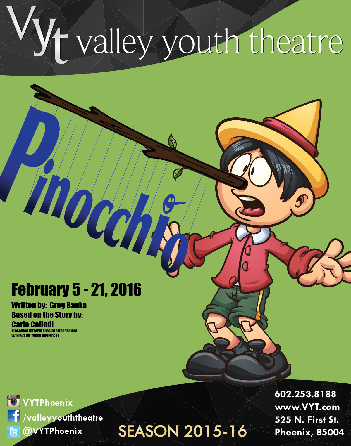 PHX Stages: PINOCCHIO - Valley Youth Theatre - February 5 ...