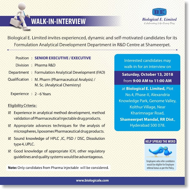 Biological E. Limited Walk-In Interviews at 13 October