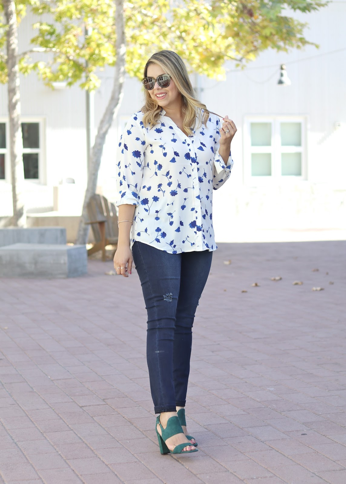Sophisticated Casual Outfit with Banana Republic, floral blouse outfit, banana republic blouse, san diego fashion blogger, san diego fashion
