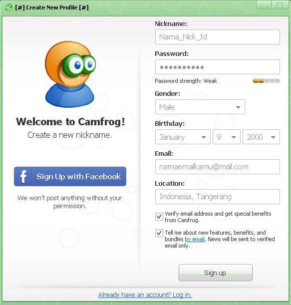 Buat ID Camfrog 6.4 Baru
