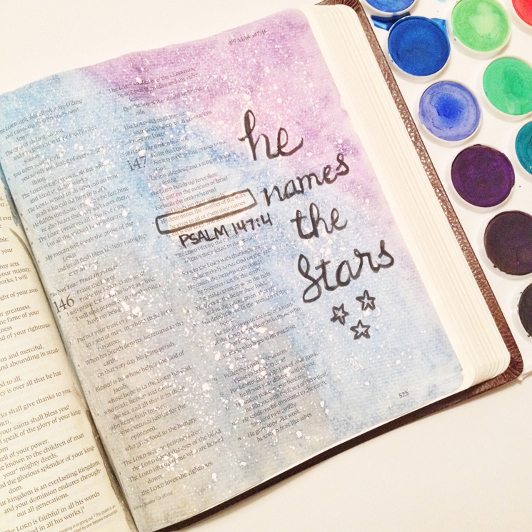 Psalm 147:4 | Bible Journaling - A Simpler Grace #illustratedfaith #shepaintstruth